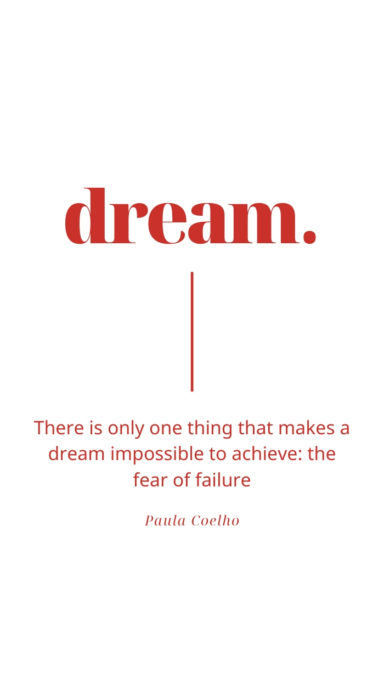 """red letter on white background """"dream"""" quote"""